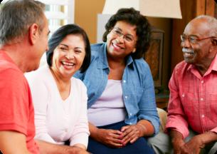elders talking at the living room